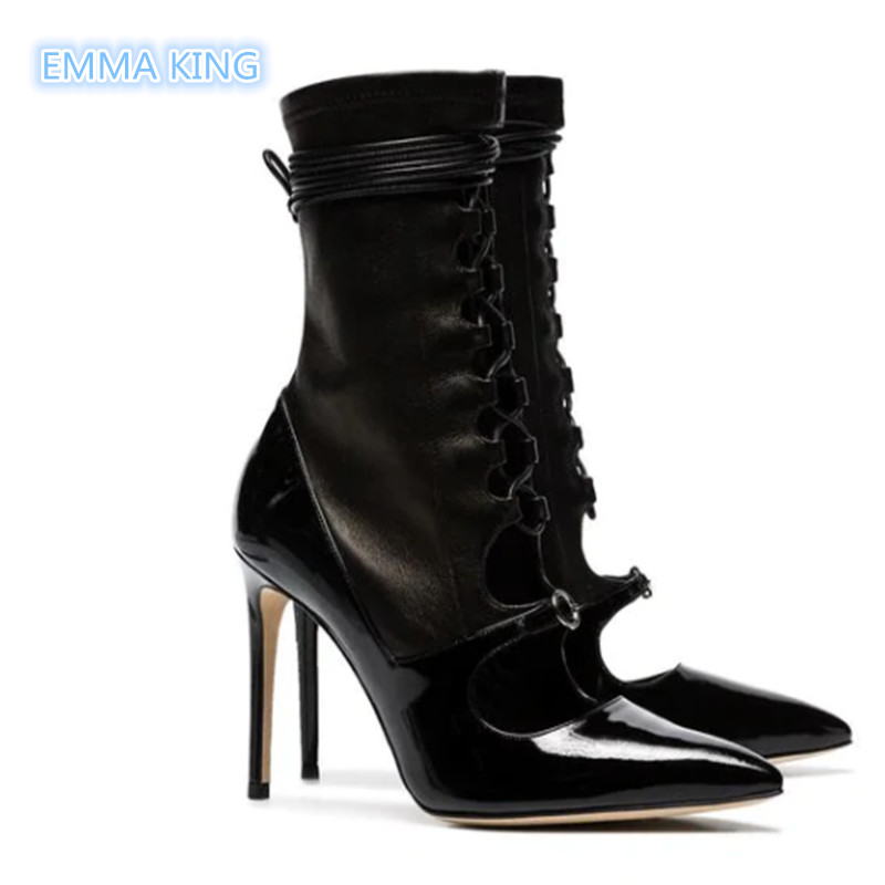Sexy De Picture Creux As Talons 2019 Design Femmes Martin Hauts Mode À Lacets Printemps Cut Stilettos Chaussons Bottines Bout out Pointu Bottes IvBn4fI