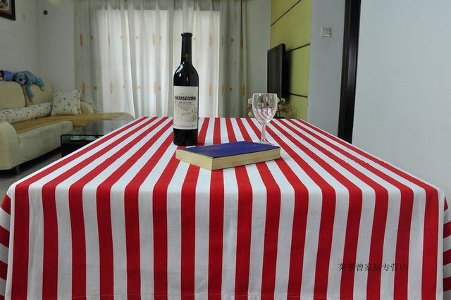 Red And White Striped Tablecloth Dinning Kitchen 100% Cotton Fabric Canvas  Table Cloth America Style