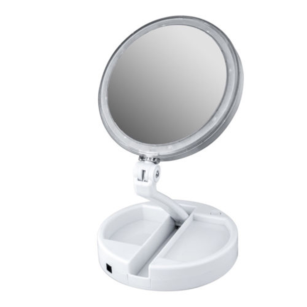 Lighted Makeup Mirror Double-sided Table Top Mirror with LED Lights 10x Magnifying Spot Mirror Power Countertop Cosmetic Mirror nyx professional makeup двустороннее зеркало dual sided compact mirror 03