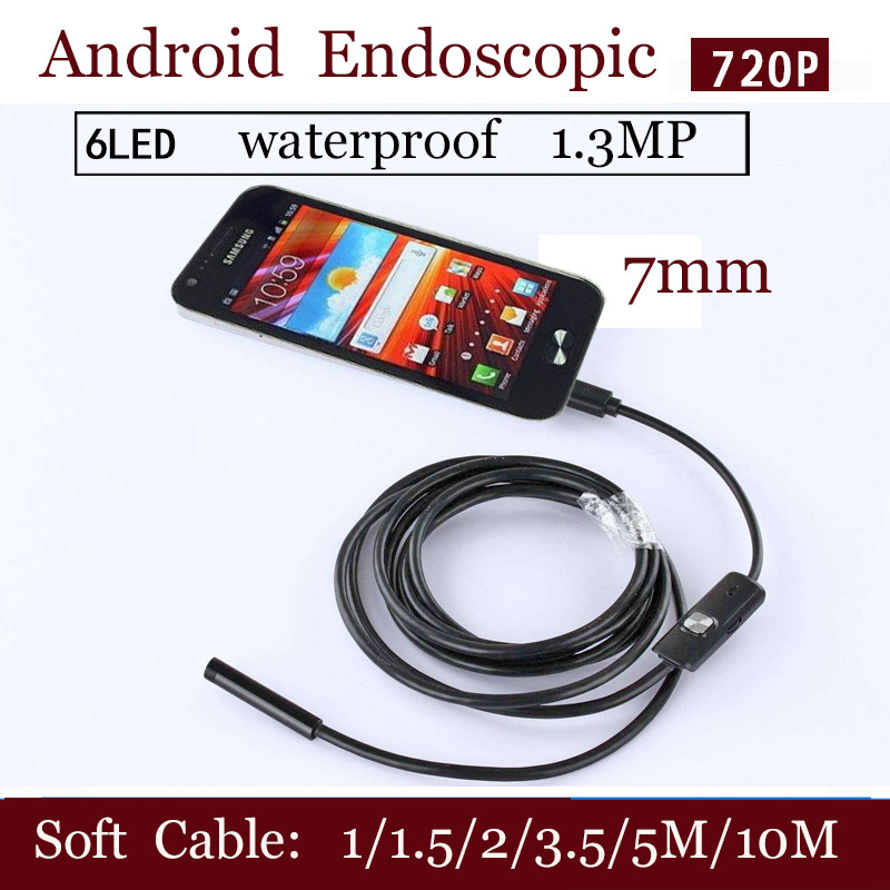 Tools Logical Shina 7mm Endoscope Ip67 Waterproof Borescope Inspection Camera 6 Led For Andorid Phone 1m/1.5m/2m/3.5m/5m/10m Soft Cable