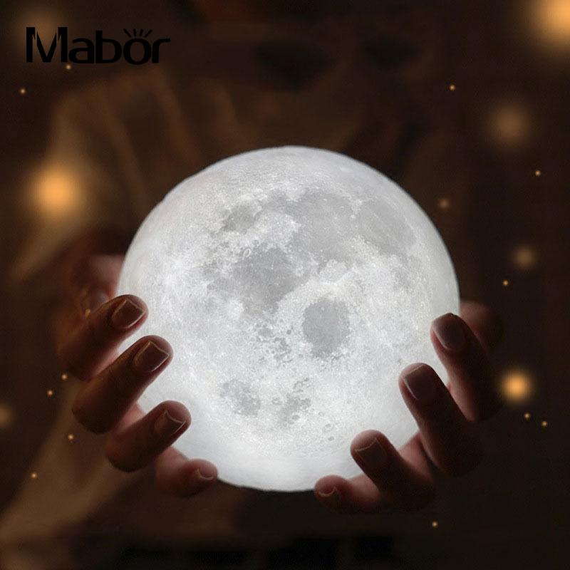 18CM 3D Print Moon Lamp USB LED Night Light Warm Touch Sensor Color Changing Decoration Valentine's Day present With Wood Base