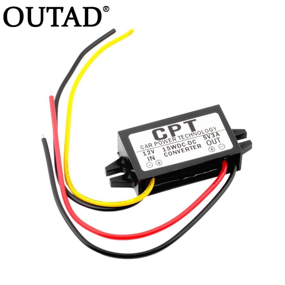 цена на OUTAD CPT-UL-1 Waterproof DC/DC Converter Regulator 12V to 5V 3A 15W Car Led Display Power CPT Car power Step Down Regulator