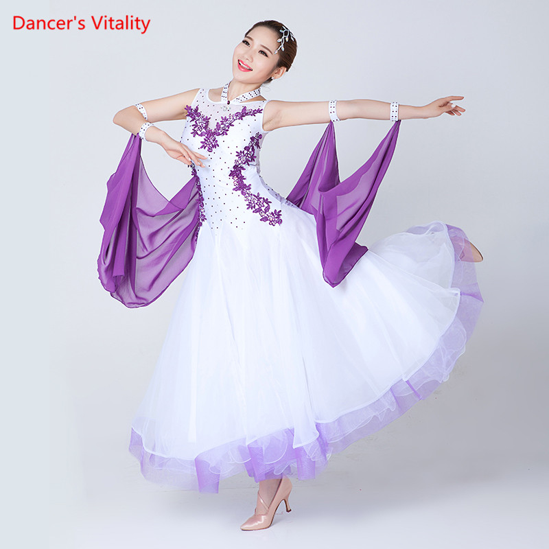 Professional Women s sleeveless Ballroom Dance Dresses Waltz Flamenco Tango Competition Standard black white Dress for
