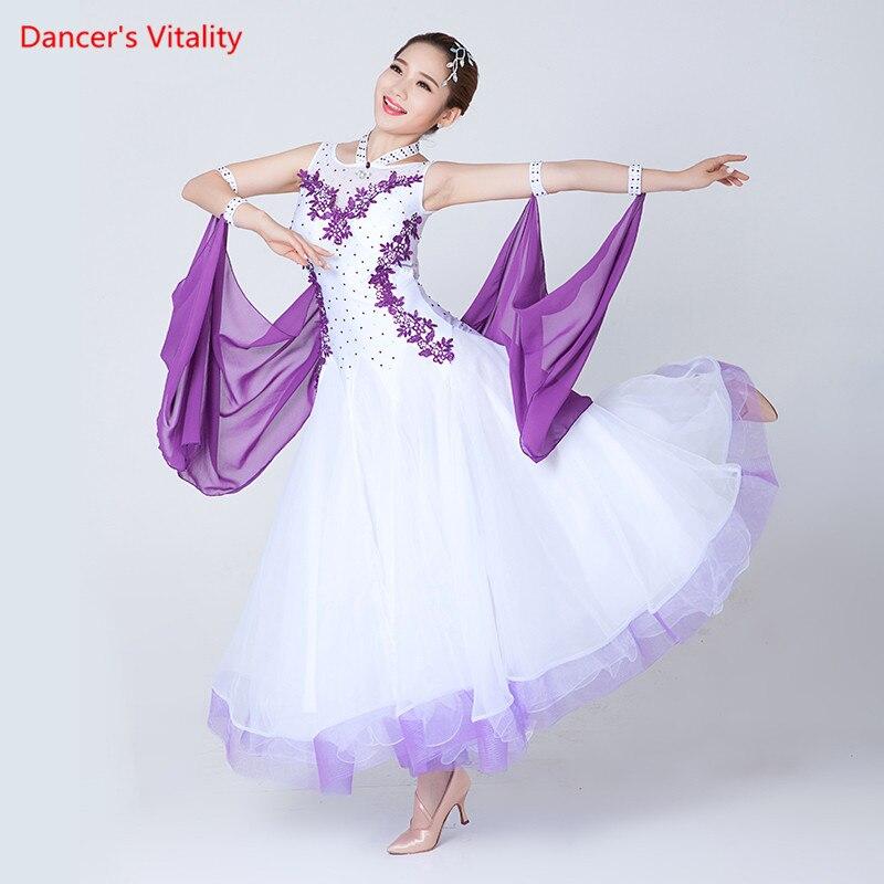 Robes de danse de salle de bal sans manches pour femmes professionnelles valse Flamenco Tango compétition Standard robe blanche noire pour femmes