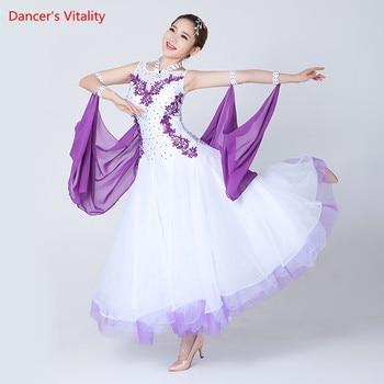 92cf988f8c9 Vestidos de baile de salón de baile sin mangas de mujer profesional Waltz  Flamenco Tango competencia estándar negro blanco vestido para mujer