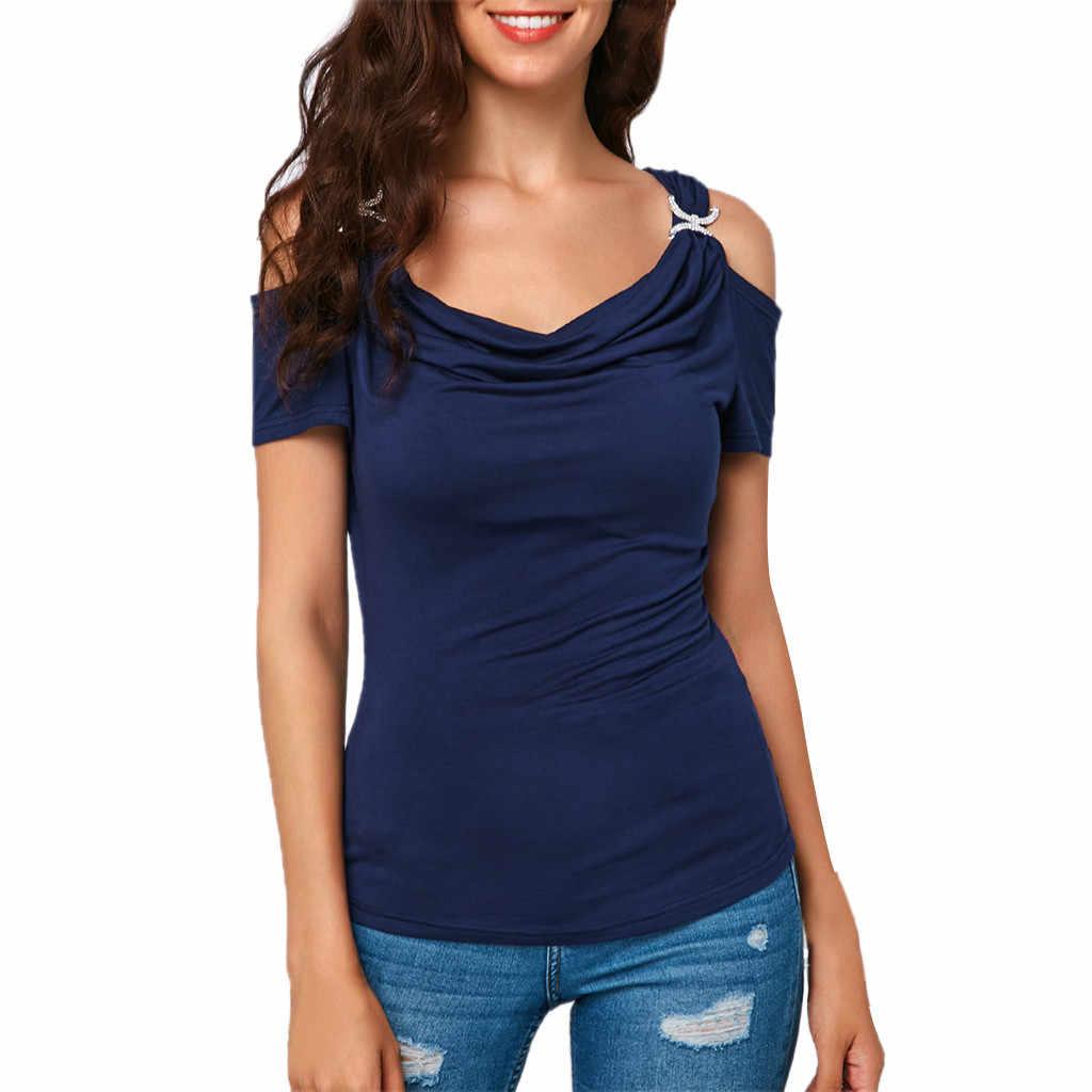 Fora do ombro blusa feminina casual moda camisa feminina verão drapeado gola camisa senhoras sólido grande tamanho blusa de manga curta