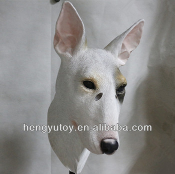 Fancy Dress Part Latex Bull Terrier Dog Mask for Adult Halloween Party