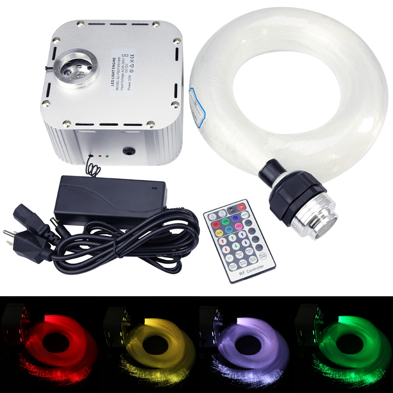 32w RGB Twinkle  Fiber Optic Starry Sky Effect Ceiling Light Kit 835Strands *(0.75mm+1mm+1.5mm)*4/5M Optical Fiber With 28Key RF