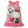 Fashion Baby Girls Cartoon Hello Kitty Stripe Dress Children's Vest dress Girls' Clothing Red Pink