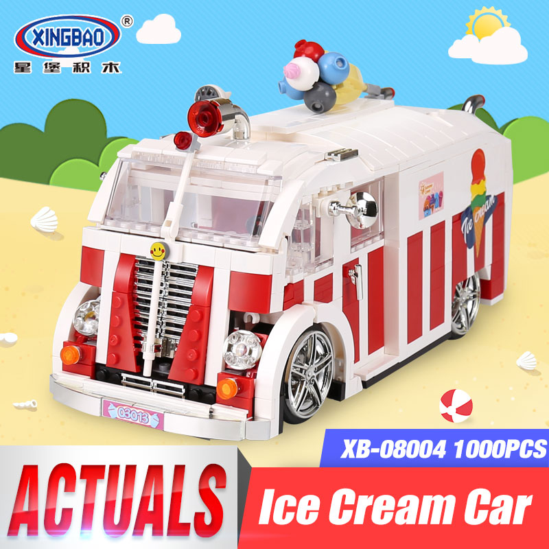 Xingbao 08004 Technic Series The Ice Cream Car Set Building Blocks Bricks Children Toys Model Girls Friends Birthday Gifts Boys doinbby store 21004 1158pcs with original box technic series f40 sports car model building blocks bricks 10248 children toys