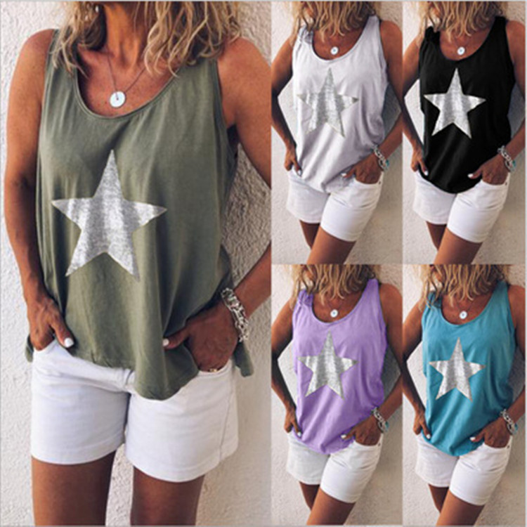 Ladies Tops Women Letter O-Neck Star Print Loose Casual Solid-Colors Plus-Size Fashion