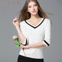 Women T shirt Classic Base Wild Shirt Casual Cotton V Neck Half Sleeve Contrast Slim Pullover Knitted Basic Tee Tops