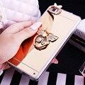 Huawei p8 lite case rhinestone stand titular capa para huawei p8 lite silicone case espelho casos protetora de diamante rosa de ouro