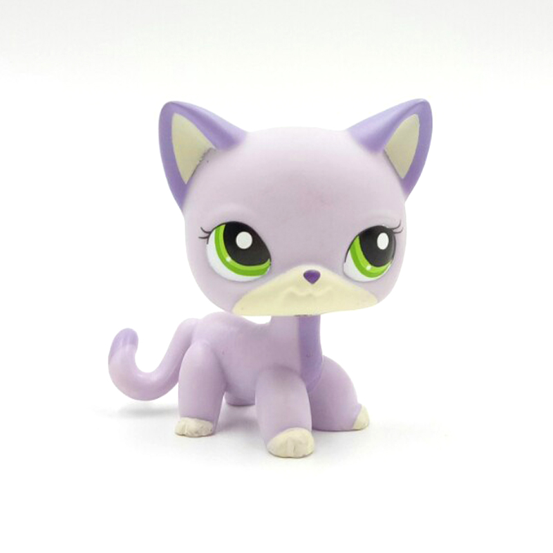Rare Pet Shop Toys Standing #2094 Short Hair Cat Blue-violet Kitten Green Eyes Old Original Free Shipping