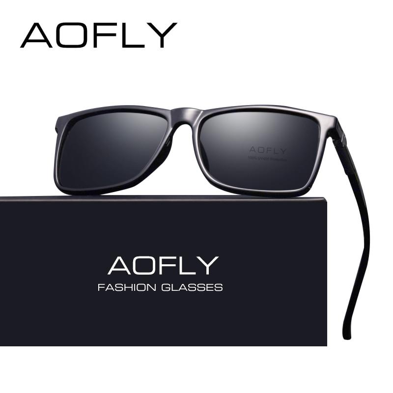 Бренд AOFLY классический черный поляризованных солнцезащитных очков Мужчины вождения солнцезащитные очки для человека оттенки очки с коробк...