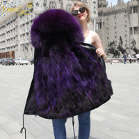 Fashion Purple Real Mink Fur Coat for Woman Clothes Detachable Linning and Sleeves Optional Collar Parka Hooded 2018 New Outwear