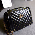2015 chain plaid rivet small bag fashion brand bag crown women's handbag one shoulder Women messenger bags