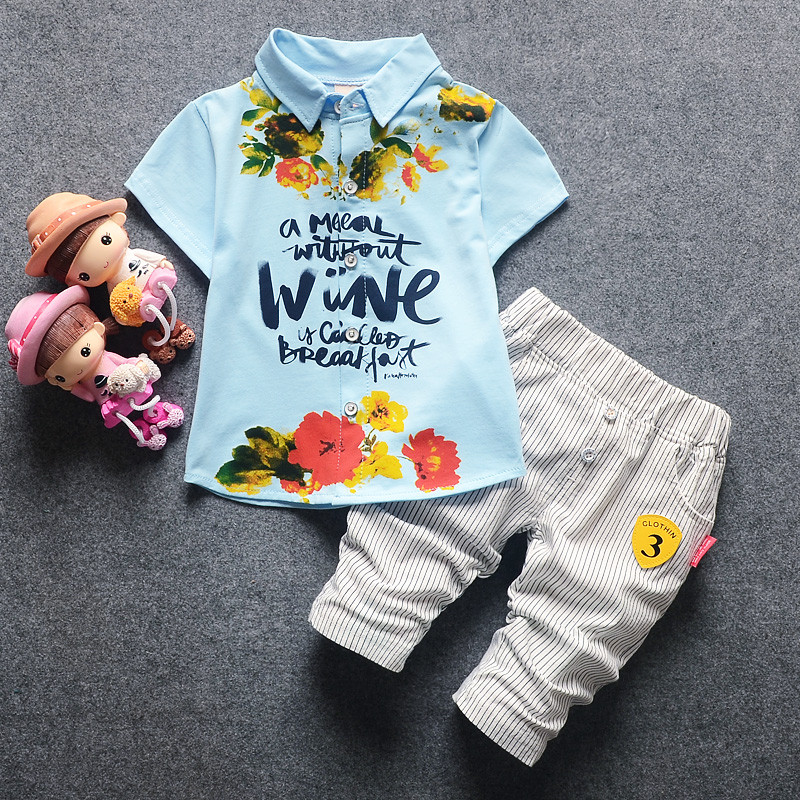 2018 Summer Baby Boy Clothing New Style Toddler Boys Brand Sets Short Sleeve Letter Print Suits Boy Clothes Set 2pcs 0-4 Years 2018 new cotton baby boy clothes summer toddler boys striped rompers sunhat 2pcs clothing set gentleman suit kids clothes