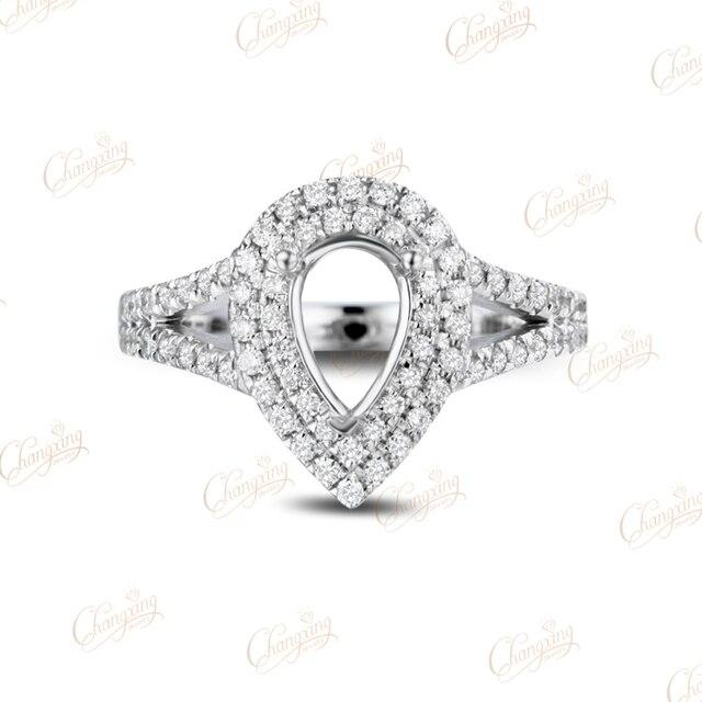 5x7 мм Груша 14 К Белое Золото Diamond Маунт Semi Настройки Кольцо Бесплатная Доставка