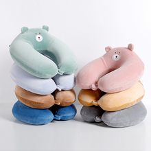 Cartoon Solid Color support u type slow rebound neck pillow memory cotton office car Travel Pillow Comfortable home textiles