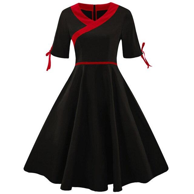 Plus Size 4XL Women Vintage Dress Gown Short Sleeve Rockabilly Feminino Robe Vestidos Hepburn 50s 60s Formal Party Dresses