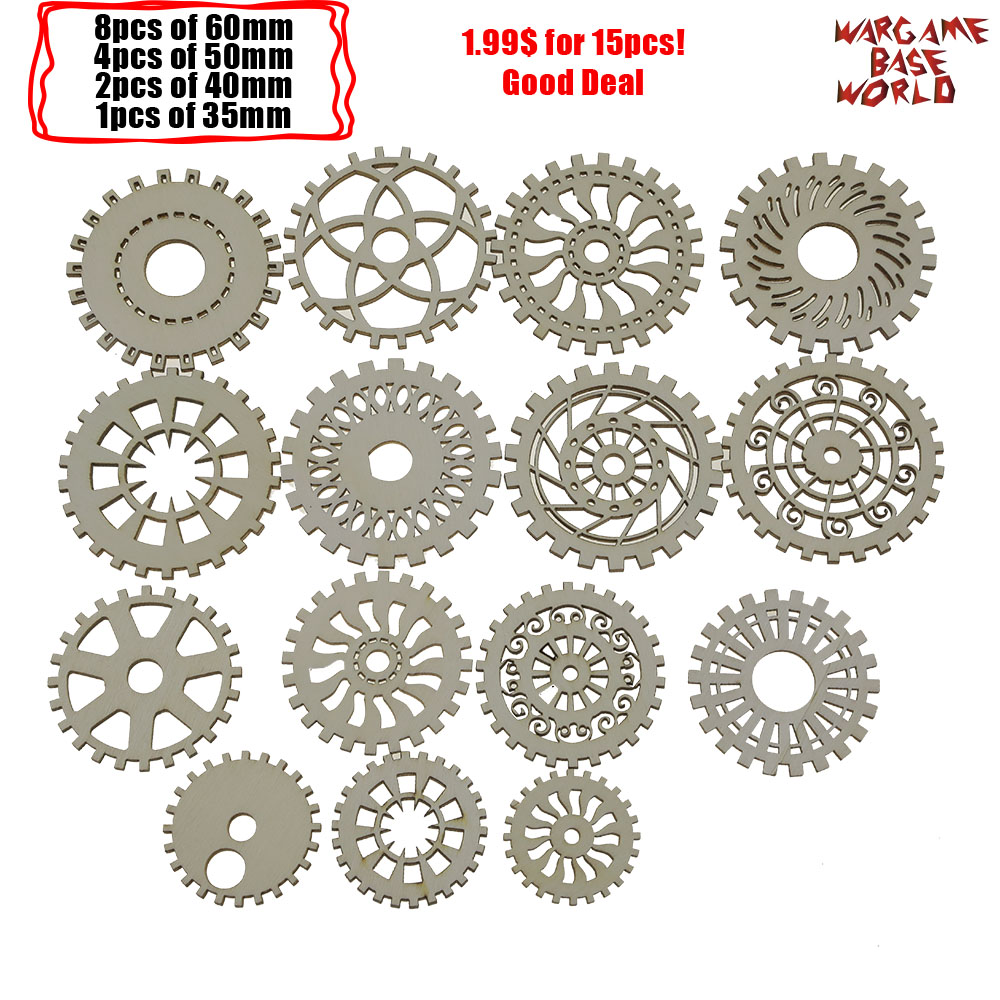 Plywood - Tiny COGS And GEARS Steampunk - Beads Mix - Good Deal