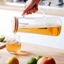Боросиликатное стекло ручной работы бутылка для воды, отлично подходит для горячей холодной воды, льда, чая и сока, напитков, нержавеющая сталь или бамбуковая крышка