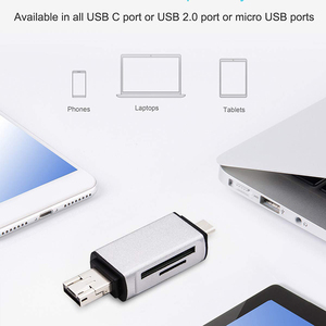 Image 4 - Baolyda SD Card Reader 3 in 1 USB Type C/Micro USB Male Adapter and OTG Function Portable Memory Card Reader for & PC & Laptop