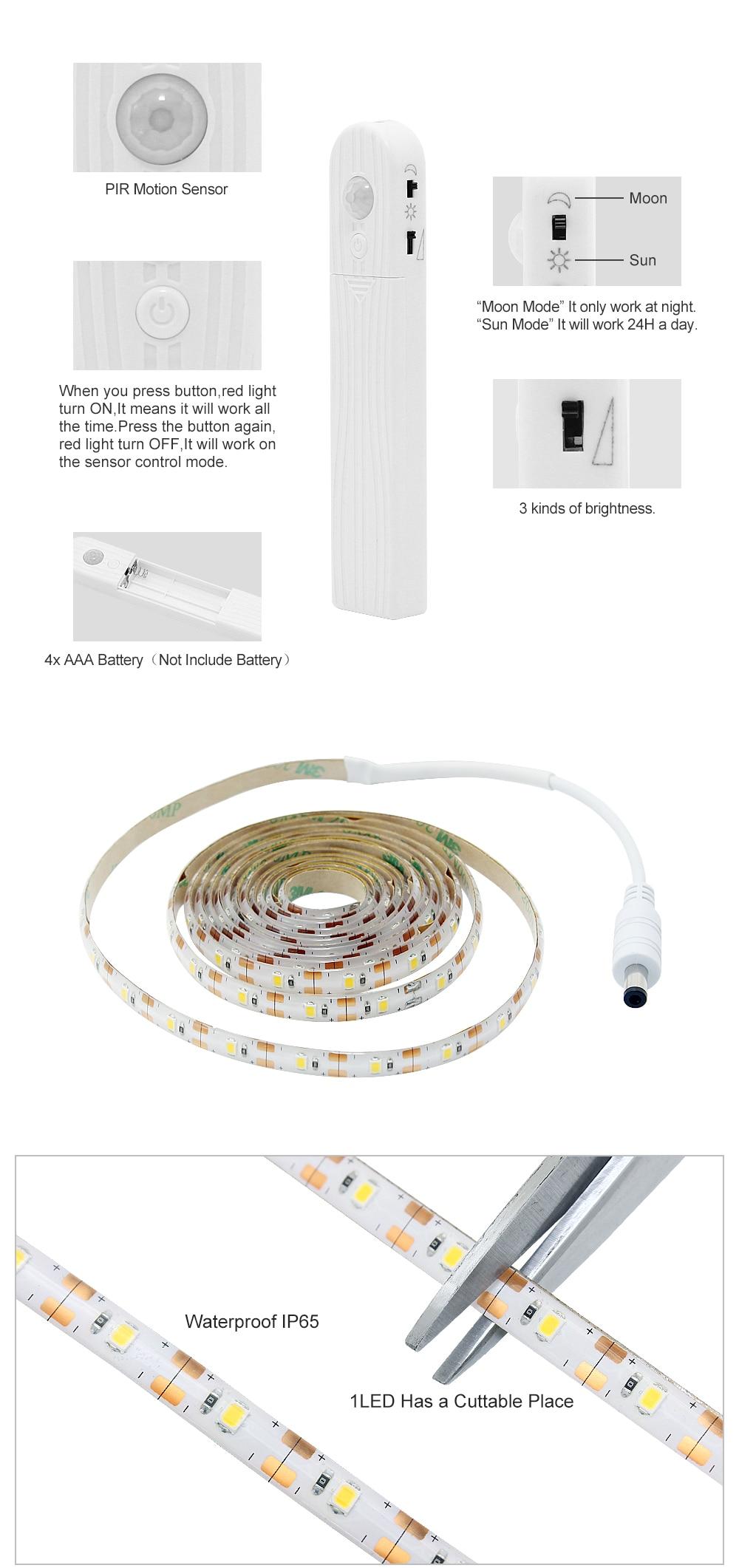 PIR датчик движения светодиодный гардероб кровать ночник 1М 2М 3М гибкой прокладки Сид Dimmable лампы ААА аккумулятор питания для шкаф лестницы