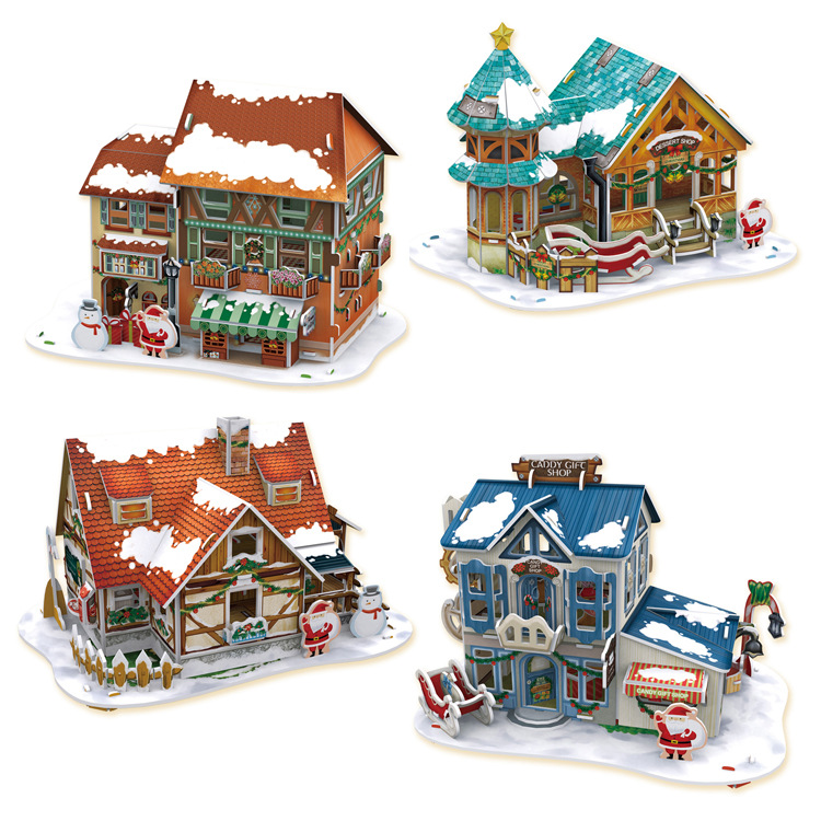 3d with led light educational puzzle paper christmas house diy doll house toy for christmas gift. Black Bedroom Furniture Sets. Home Design Ideas