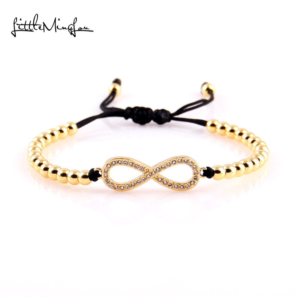 Little MingLou New Trendy Men bead Bracelet Micro Pave CZ infinity Charm copper Braided bracelets & bangles for women Jewelry