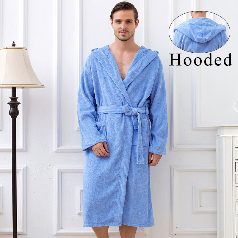 Big Terry Toweled hooded bathrobe men with hooded solid 100% cotton hooded toweled bathrobe for men ...