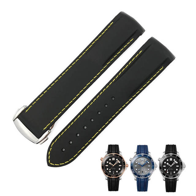 19mm 20mm 21mm 22mm Rubber Silicone Watch Strap Curved End Folding Buckle Sports Watchband for Omega Seamaster Speedmaster Watch