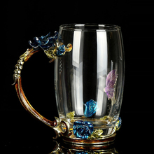 European Style Blue Rose Crystal Cup Flower Tea Glass Heat-Resistant Water Mug with Handgrip Gifts for Friends
