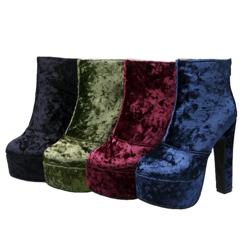 Sjjh Botte Partie Q502 Chunky Chaussures Noir Femmes Velours burgundy Mode bleu Green Courte Zip Rond Avec Plate forme Sexy army Peluche Bout Bottes Cheville Grand Taille Super De rrqOU