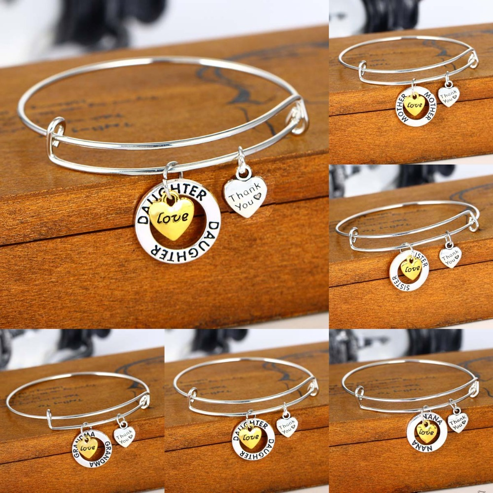 Grandma Love You To The Moon Silver Wire Adjustable Bracelet Heart Jewelry Gift