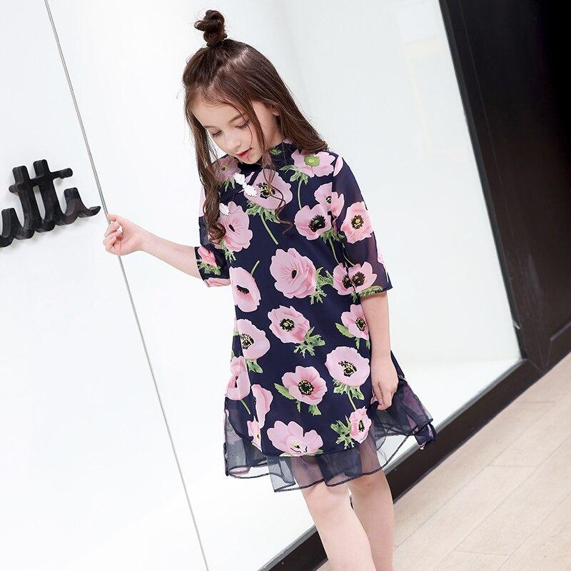Fleur filles robe d'été mode adolescente enfants princesse vêtements enfants fête vêtements à manches courtes robe florale pour les filles