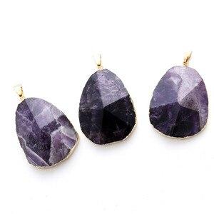 Здоровья счастливый натуральный аметист Кварцевый кулон Geode Cut Фиолетовый Кристалл точечный камень кулон для женщины девушки массивные юве...