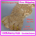 Slavic Remi 2pcs/Lot Double Drawn Hair Weft Color 613# Jerry Curly Machine Weaving Hair Weft DHL Free Shipping greathair Ring