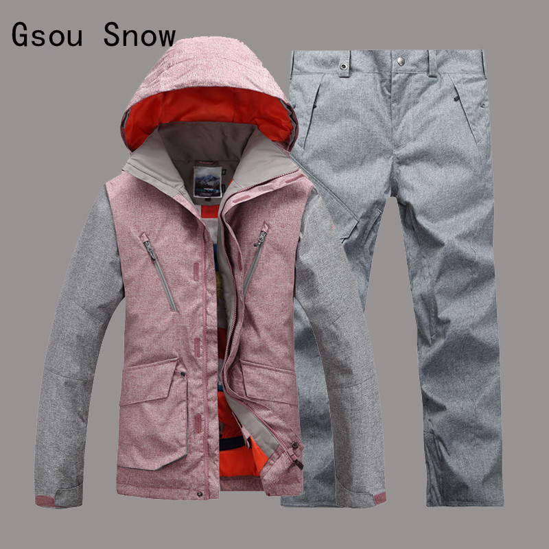 Gsou Snow Men Ski Jacket+Pants Windproof Waterproof Outdoor Sport Wear Camping Riding Skiing Snowboard Super Warm Male Suit Set children ski suit windproof waterproof outdoor sport wear camping snowboard skiing jacket pants winter warm clothing for 6 16t