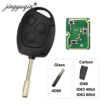 Jingyuqin 3 przyciski zdalny brelok 315Mhz 433MHz 4D60 ID63 Chip dla Ford Mondeo Focus Fusion Fiesta Galaxy Transit pełny kluczyk tanie i dobre opinie ID60 Complete Key Remote Control Replacement ABS + Metal + Circuit board China For Ford