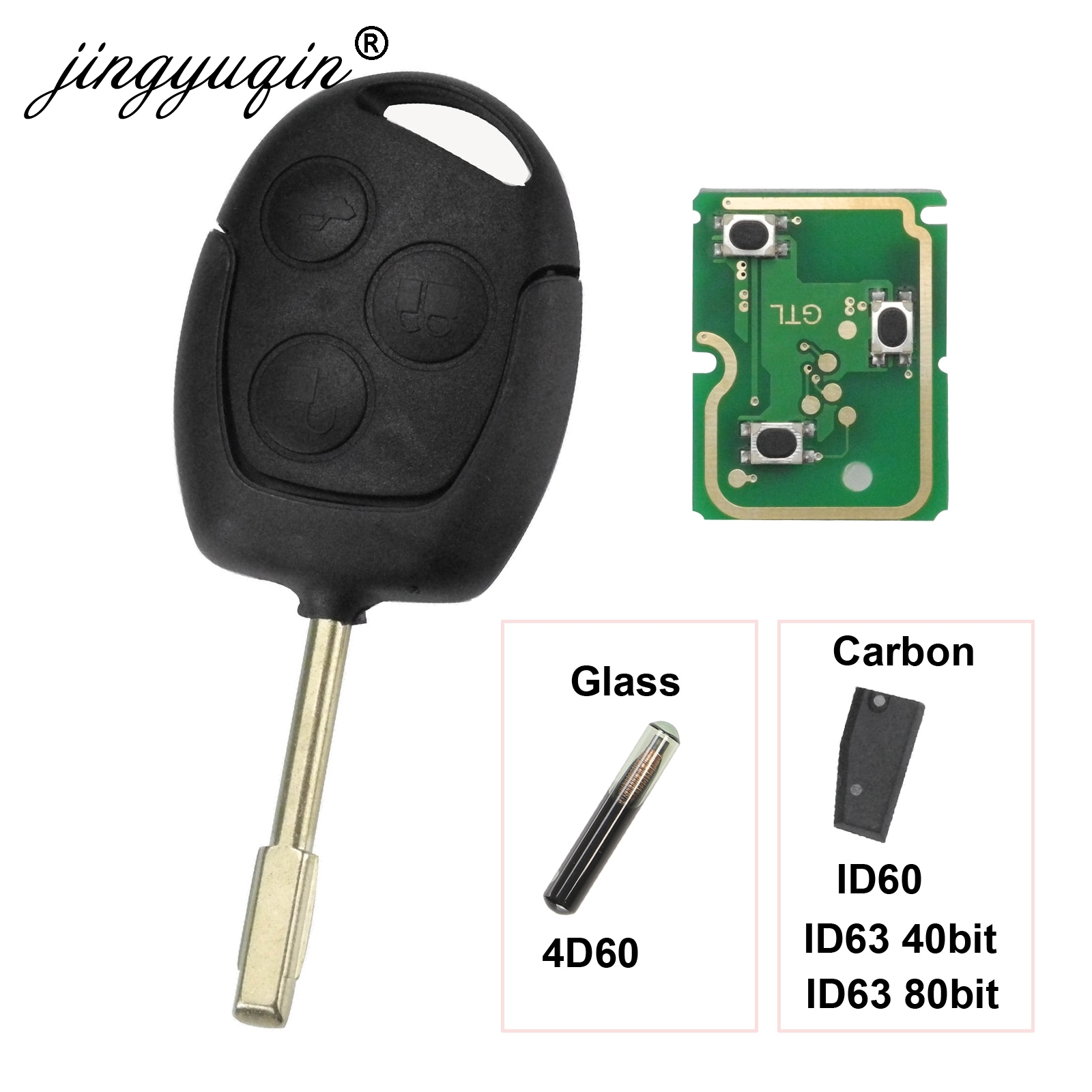 jingyuqin 3 Buttons Remote Key Fob 315Mhz 433MHz 4D60 ID63 Chip For Ford Mondeo Focus Fusion Fiesta Galaxy Transit Full Car Key