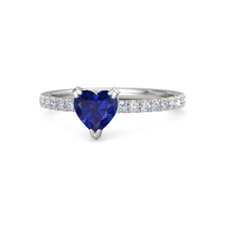 1Ct Forma Do Coração Azul Safira Jóias Anel Florido Prmoise Cor Sólida 925  Prata Esterlina Anel a8d26e5a42