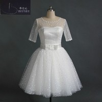 New Fashion 2017 Scoop Neck Puffy A Line Knee Length Polka Dots Tulle Informal Beach Wedding Dresses Free Shipping