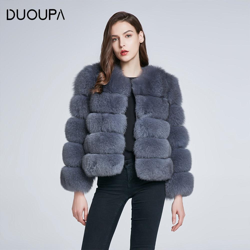DUOUPA  Real Fur Coat For Women Winter natural fur Jacket Fashion Short silm Outwear Luxury Natural Real Fur Coat real fur vest