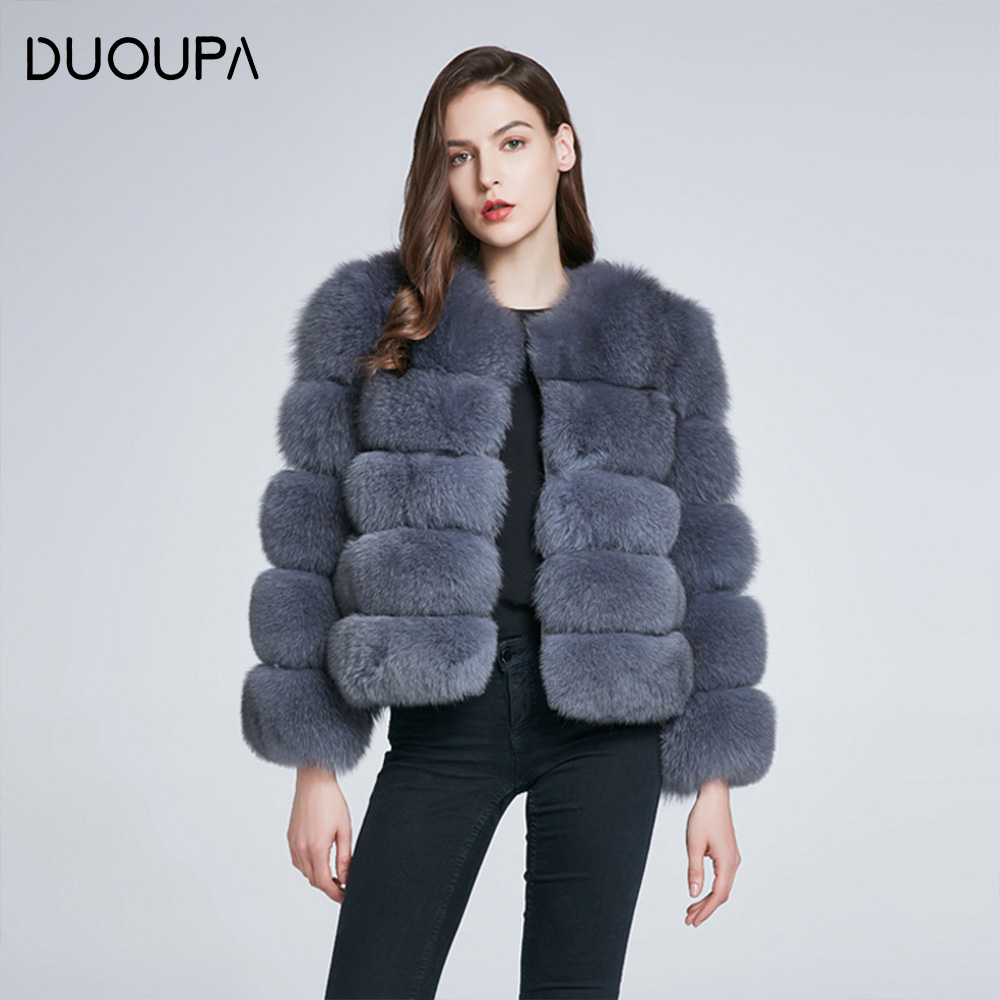 DUOUPA Real Fur Coat For Women Winter natural fur Jacket Fashion Short silm Outwear Luxury Natural Real Fur Coat real fur vest