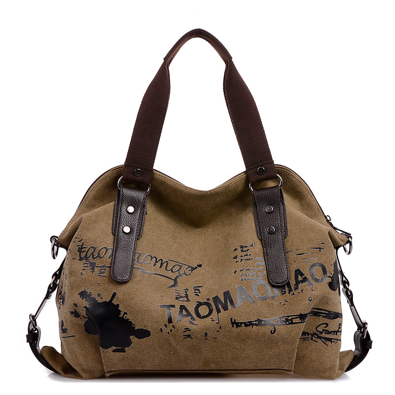 Canvas Women Messenger Tasker Håndtasker Large Capacity Tote Shopping Pung Skuldertaske Casual Beach Ladies Crossbody Tasker