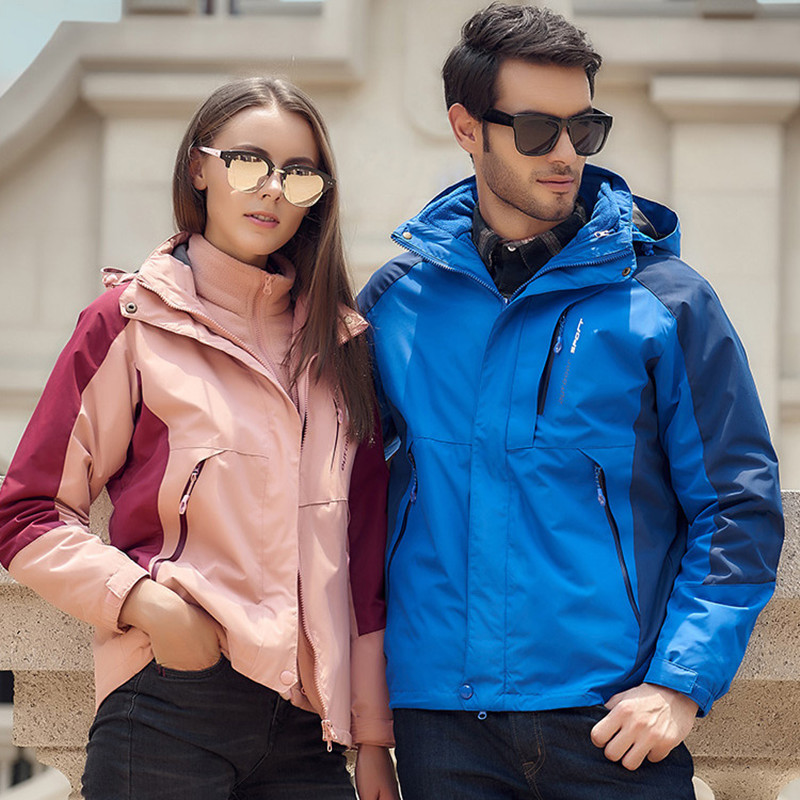 Autumn Winter Thick Warm Two Piece Set Men Women Large Size Coat Camping Hiking Trekking Jackets