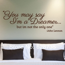 JOHN LENNON Quotes Wall  Decals-You May Say I'm A…, Music, Lyrics, Dreamer,Vinyl Wall Stickers ,Wall Art Decor  Free Shipping
