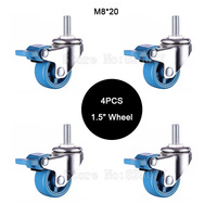 4PCS Mini 1 5 Mute Wheel With Brake Loading 25kg Replacement Swivel Casters Rollers Wheels With